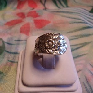 Vintage Floral Silver Plate Spoon Ring Size 6